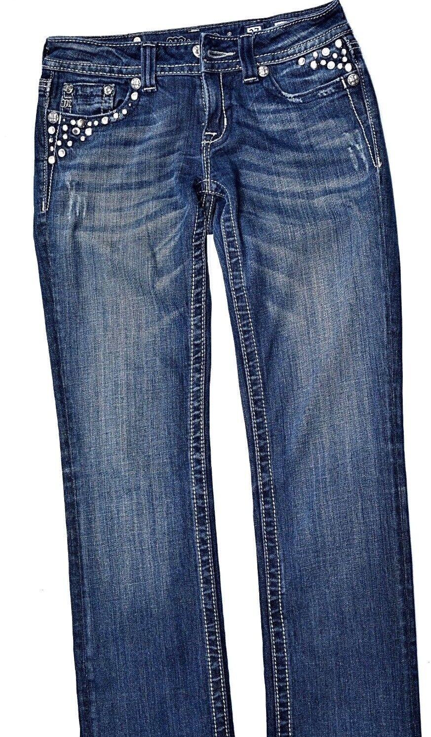 Miss Me Jeans Embellished Womens Size 27 Straight BLING Denim Women bluee Flap