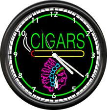 Cigar Store Indian Neon Color Cigars Wall Clock #176