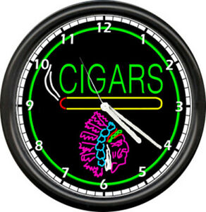 Cigar Store Indian Neon Color Cigars Wall Clock 176 Ebay