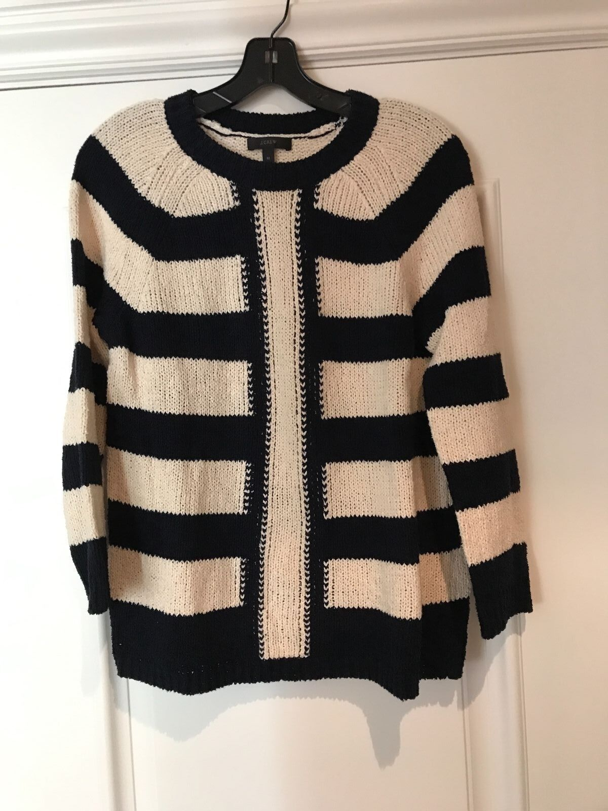 J.CREW Navy Ivory Chunky Knit Sweater M
