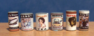 1/12 Dolls House Miniature Set 6 Mixed Tin Cans Tins canned food miniatures LGW