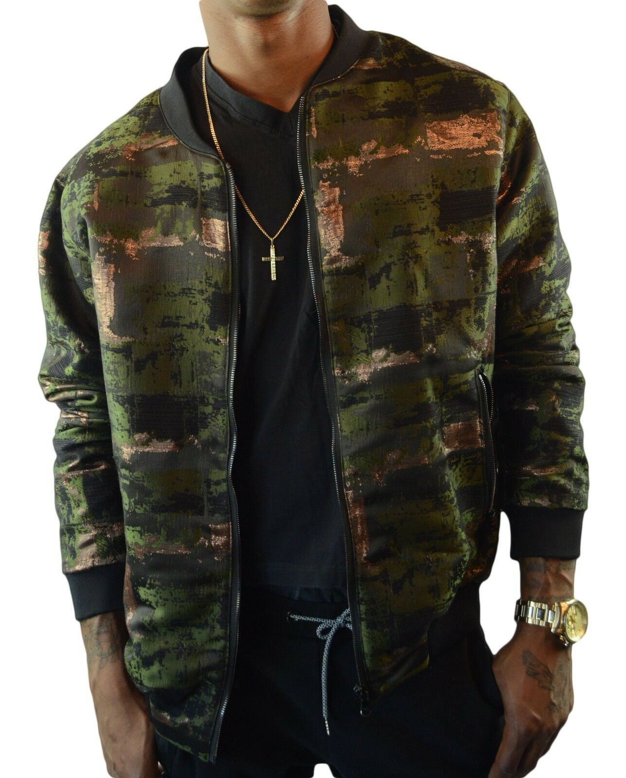 Green Copper Jaquard Bomber - Size Large