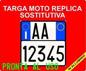 TARGA-MOTO-PROVVISORIA-REPLICA-IN-ALLUMINIO-PRONTA-AL-USO-COME-L-039-ORIGINALE-REPL
