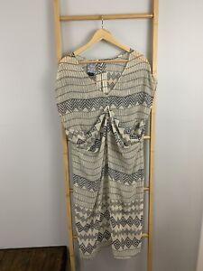 Shona-Joy-Size-AU-12-M-US-8-Sheer-Chiffon-Aztec-Kimono-Dress-Dolman-LY