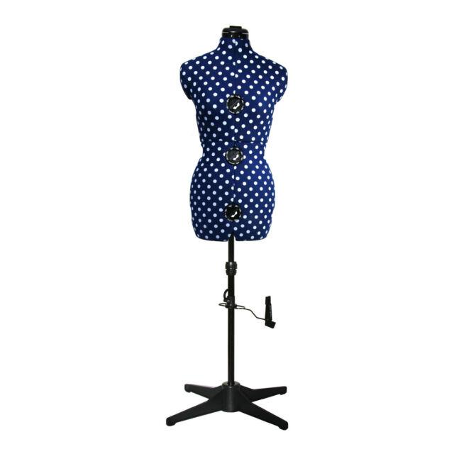 Adjustoform Navy Polka Dot 8-Part Adjustable Dressmaker's Dummy UK 10-16