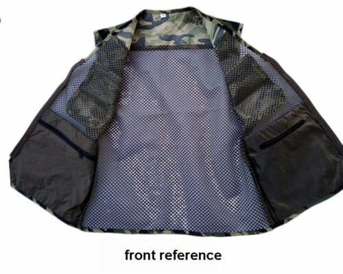 Men Outdoor Fishing Hunting Vest Camo Tactical Multi Pockets Jacket Large Size