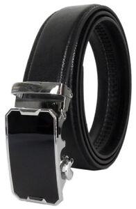 Men Automatic Ratchet Click Lock Belt Genuine Leather G Designer Style Buckle