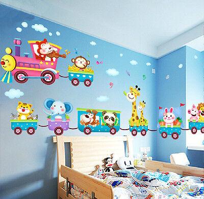 Removable Animals Train Window Wall Stickers Decal Baby Kids Nursery Room Decor