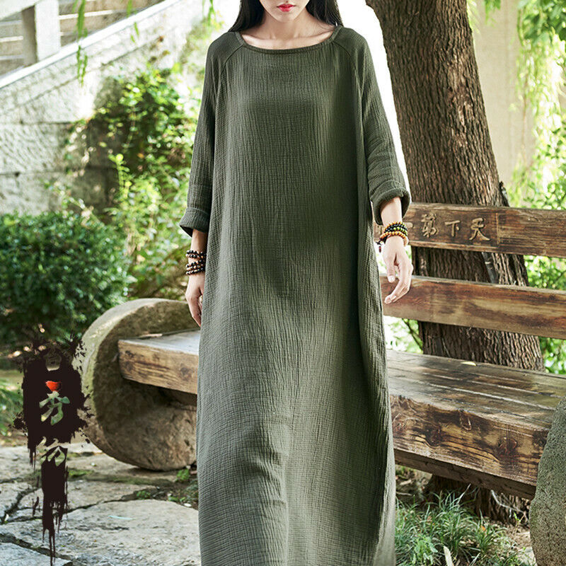 Women Ethinc Cotton Linen Loose Long Maxi Dress Long Sleeve Solid Retro Robe Boh