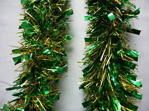 6-Green-amp-Gold-Tinsel-Christmas-Decorations-Tree-9cmx2m-K