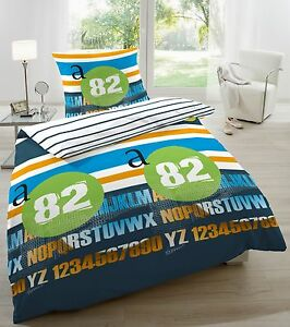 primera 123029 035 baumwoll bettw sche renforce casual blau gr n 135x200 ebay. Black Bedroom Furniture Sets. Home Design Ideas