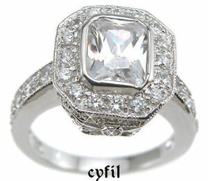 925 3ct emerald cut pave engagement ring size 5 6 7 8 9 ebay