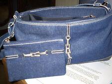 Denim Handbag purse baguette shoulder bag with matching coin purse/wallet