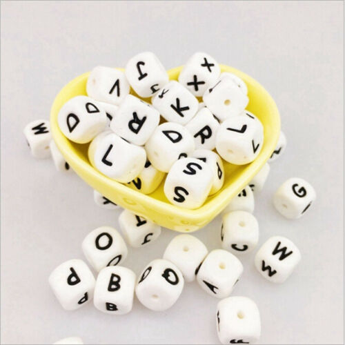 Silicone Alphabet 26 Letter Beads DIY Cube 12mm 26pc Silicone Loose Teething IT