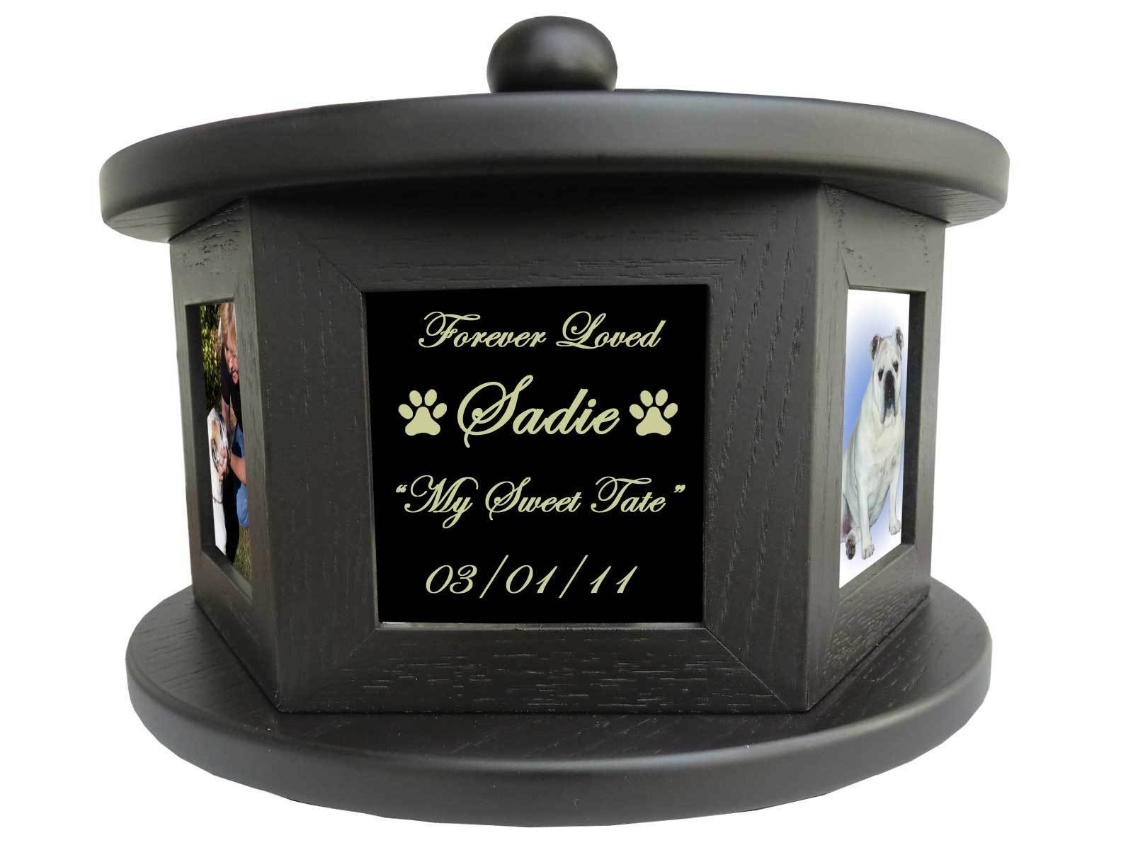 5 Photo rossoating Pet Cremation Urn - 100 lbs FREE Engraving nero Plate Dog Cat