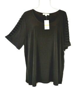 Michael-Kors-Women-039-s-Black-Cut-out-Sleeve-Plus-Size-3X-Top-Blouse-Shirt-NWT