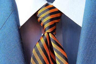 Jos. A. Bank Gentleman's Orange & Navy Blue Striped All Silk Necktie