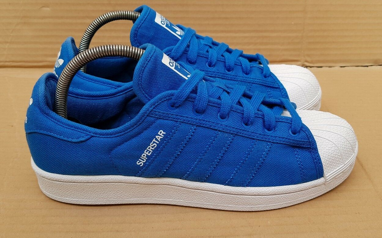RARE ADIDAS SUPERSTAR FESTIVAL TRAINERS SIZE 6.5 UK Blau CANVAS WEISS EXCELLENT
