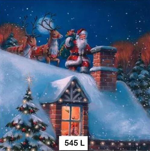 SANTA CHRISTMAS REINDEER 545 TWO Individual Paper Luncheon Decoupage Napkins
