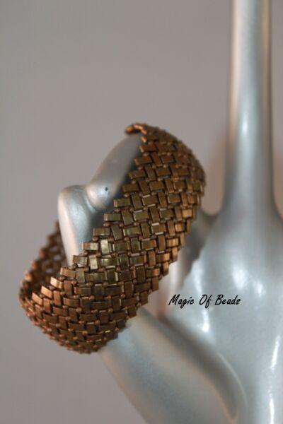 """#108 - Unikat ! Handmade ! Armband """"herringbone"""" In Braun/oliv Weich Und Leicht"""