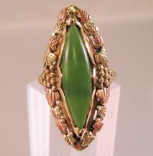 10k 12k Black Hills Gold Jade Ring Large 5.6g Vintage Size 7.75 Fine Jewelry