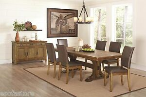 Weathered Wood Finish Formal Dining Table & Upholstered Side Chairs 7p Furniture