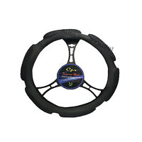 6 Grip Mesh Black Steering Wheel Cover Soft Universal 14.5-15.5''