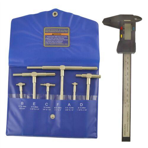 "6pc Gauge Depth Bore Hole Cylinder 5//16/"" 6/"" /& Digital Electronic Vernier Cal"