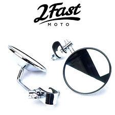 2FastMoto Chrome Clamp On Mirrors Pair Set Street Sport Bike Aprilia Ducati