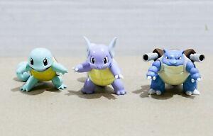 "Pokemon TOMY Gen 1 - Squirtle + Wartortle + Blastoise 2"" Figures / Toys - MINT!"