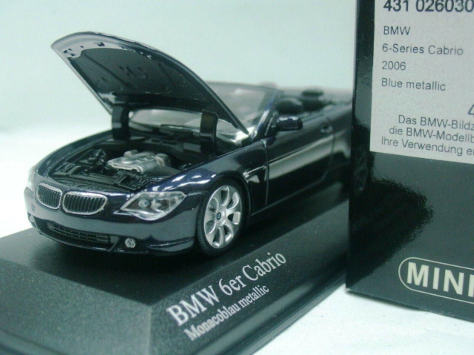 WOW EXTREMELY RARE BMW E64 645i 4.4L V8 Cabriolet 2006 bluee 1 43 Minichamps-GTR