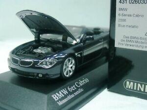 Wow extrêmement rare BMW E64 645i 4.4l V8 Cabriolet 2006 bleu 1:43 Minichamps-RTM