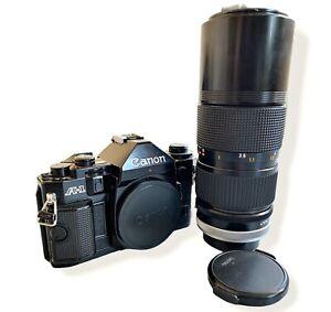 Canon A1 Mit Canon FD 80-200mm/4 SSC Objektiv (Analoge 35 mm Kamera)