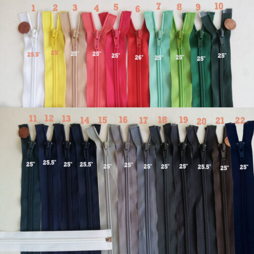 "Open End Jacket Zippers J25 25/"" 25.5/"" Inch #5 Nylon Separating Jacket Zipper"