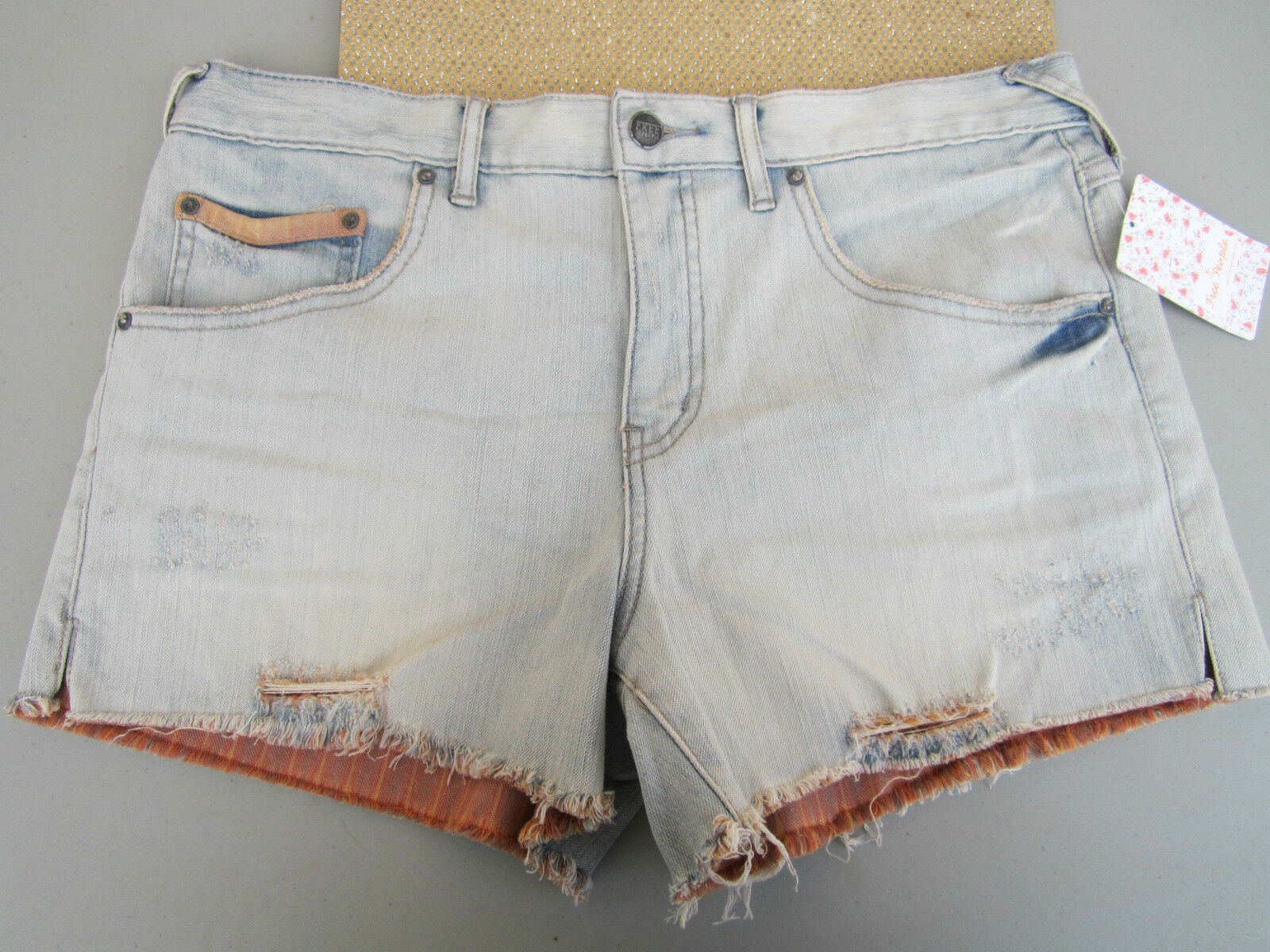 NWT Free People LADIES 30 JEAN DENIM Shorts PANTS Distressed Cut Offs Warner blue
