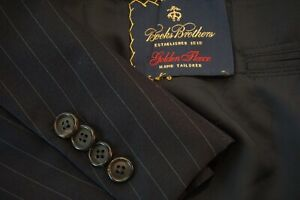 Brooks-Brothers-Golden-Fleece-Navy-Blue-Pinstriped-Wool-2-Pc-Suit-Sz-40R