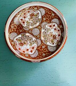 """Vintage Gold Imari Porcelain Hand Painted Platter Bowl 9"""" Gilded Japan Ceramic"""