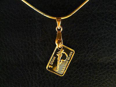 1 Gramm Silberbarren,Kette 925er,Gewehr, 999er Feinsilber,24 Karat vergoldet