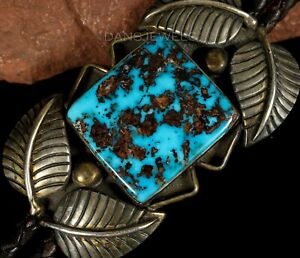 AMAZING-YELLOWHORSE-Old-Pawn-Vintage-NAVAJO-Morenci-Turquoise-Sterling-Bolo-Tie