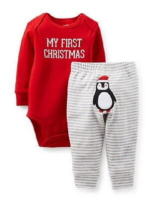 SALE My First Christmas Bodysuit /& Pant Set Red Gray Sleeper Playwear SIZES NWT