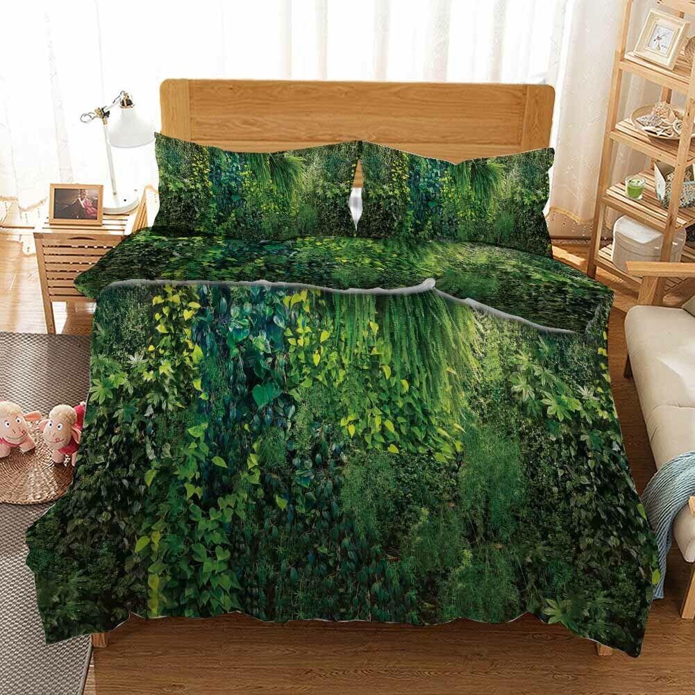 Vine Grün Forest 3D Printing Duvet Quilt Doona Covers Pillow Case Bedding Sets