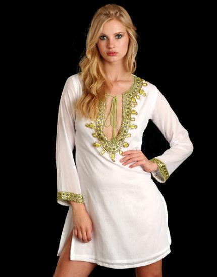 Taj White and Lime Cotton Tunic, NWT, S, orig  310