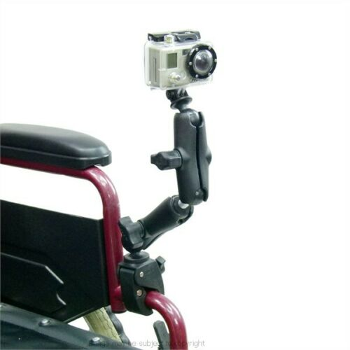 Wheelchair Rail Tube Mount with Extension /& Custom GoPro HERO Adapter Holder