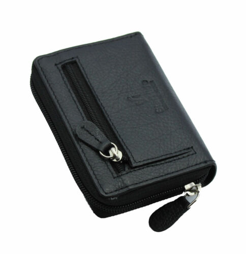 Ladies Full Zip Around Leather Concertina Card Holder Wallet ID Coin Purse Black