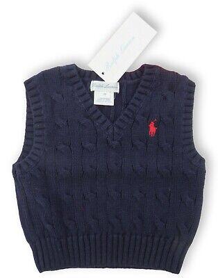 RALPH LAUREN baby boys Navy Cable V-neck TANK TOP 3M 18//24M Vest cotton