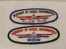 2 Vintage Academy of Model Aeronautics AMA Patch Widow and S.L.O.W. Club