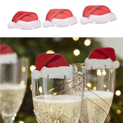 10x Carte Adorable Chapeau Flûte Champagne Décor Verre Vin Rouge Fête Noël Mode | eBay