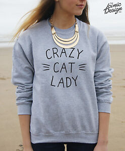 f8fbc210aa1 CRAZY CAT LADY Jumper Sweater Top Fashion Blogger Tumblr Christmas ...