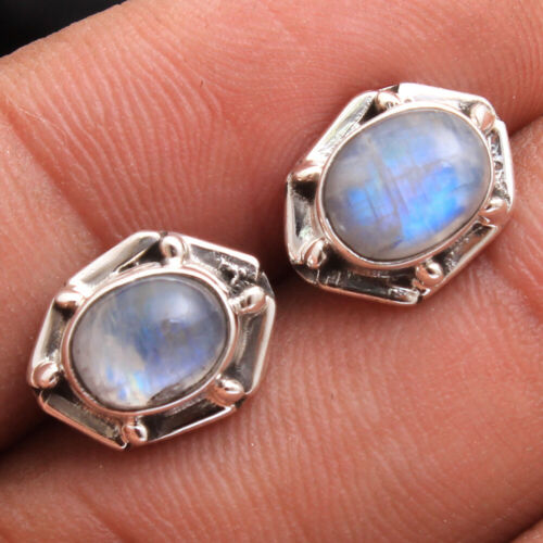 Natural Oval Moonstone Designer Stud Earring 925 Sterling Silver Jewelry