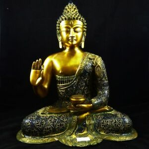 Teaching Buddha Patinierter Messingguss Aus Indien Asiatika: Indien & Himalaya